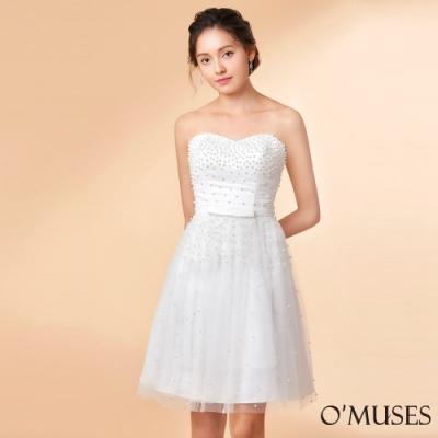 OMUSES 平口蕾絲珍珠伴娘晚宴短禮服