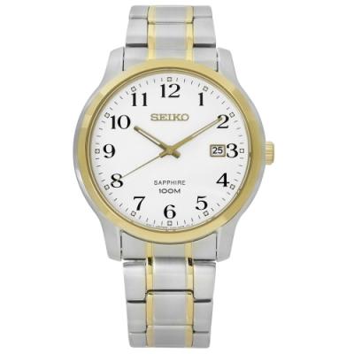 SEIKO 精工 都會時尚 藍寶石水晶 不鏽鋼手錶-白x金框/41mm