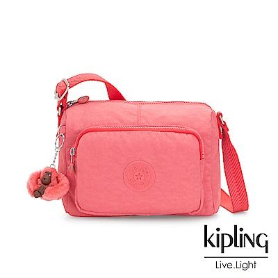 Kipling 甜美蜜桃橘素面前袋拉鍊側背包-RETH S