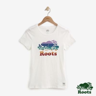 女裝ROOTS- 條紋海狸短袖T恤-白色