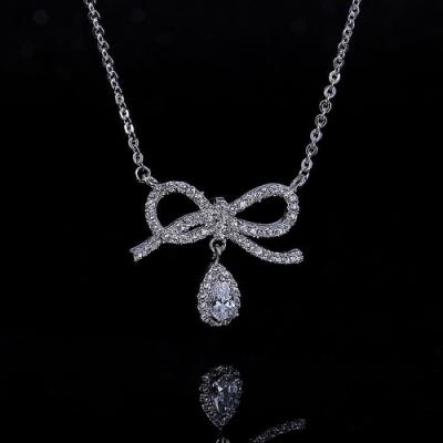 梨花HaNA 韓國鋯石蝴蝶結唯一的禮物項鍊