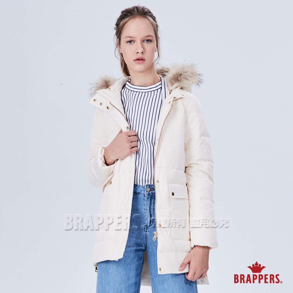 BRAPPERS 女款 中長版可拆帽羽絨外套-牛奶白