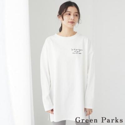 Green Parks 刺繡字母長版休閒上衣