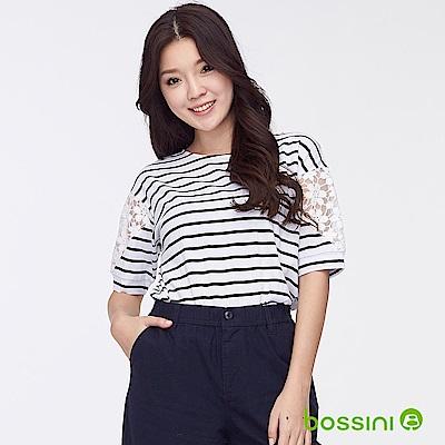 bossini女裝-圓領五分袖蕾絲拼接條紋上衣灰白