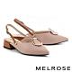 低跟鞋 MELROSE 時髦迷人金屬圓扣可拆式後繫帶尖頭低跟鞋-粉 product thumbnail 1
