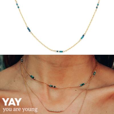 YAY You Are Young 法國品牌 Riviera 土耳其藍孔雀石項鍊 金色頸鍊