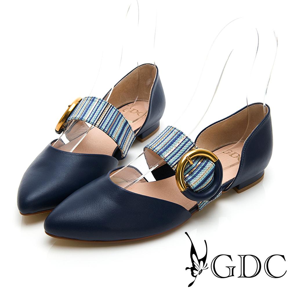GDC-真皮拼接中空尖頭質感平底鞋-藍色