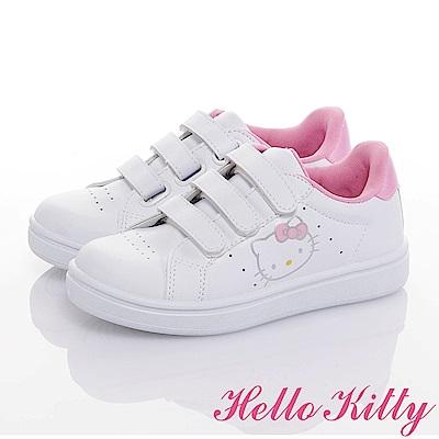 HelloKitty 親子鞋-輕量抗菌防臭減壓休閒童鞋-白粉