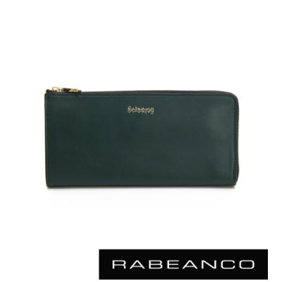 RABEANCO 迷時尚系列L型拉鍊長夾 深綠