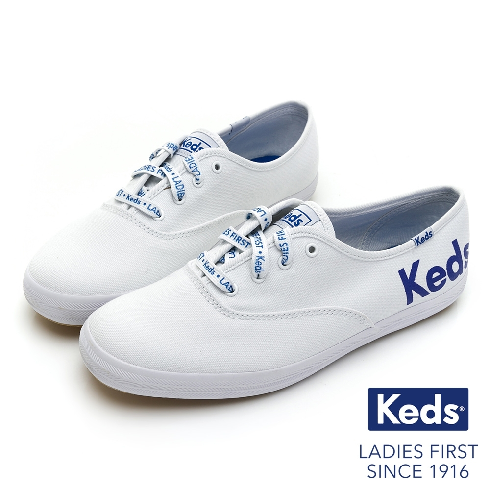 Keds CHAMPION 經典LOGO冠軍綁帶帆布鞋-白