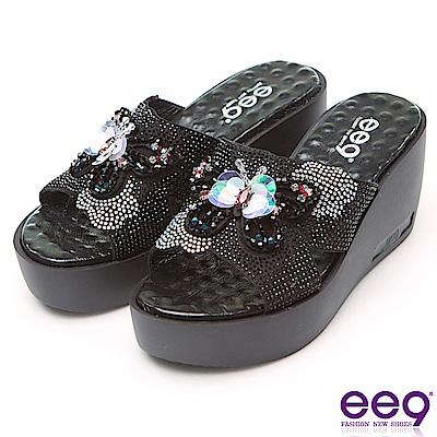 ee9 璀璨奢華鐳射鏤空露趾楔形跟拖鞋 黑色