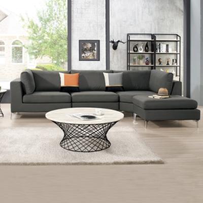 Boden-海德灰色多功能組合式轉角L型貓抓皮沙發/四件式沙發(贈抱枕)