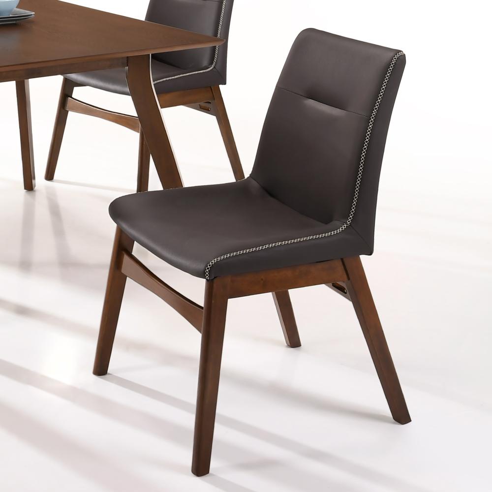 AS-翠西胡桃深咖啡皮餐椅-47x53x87cm