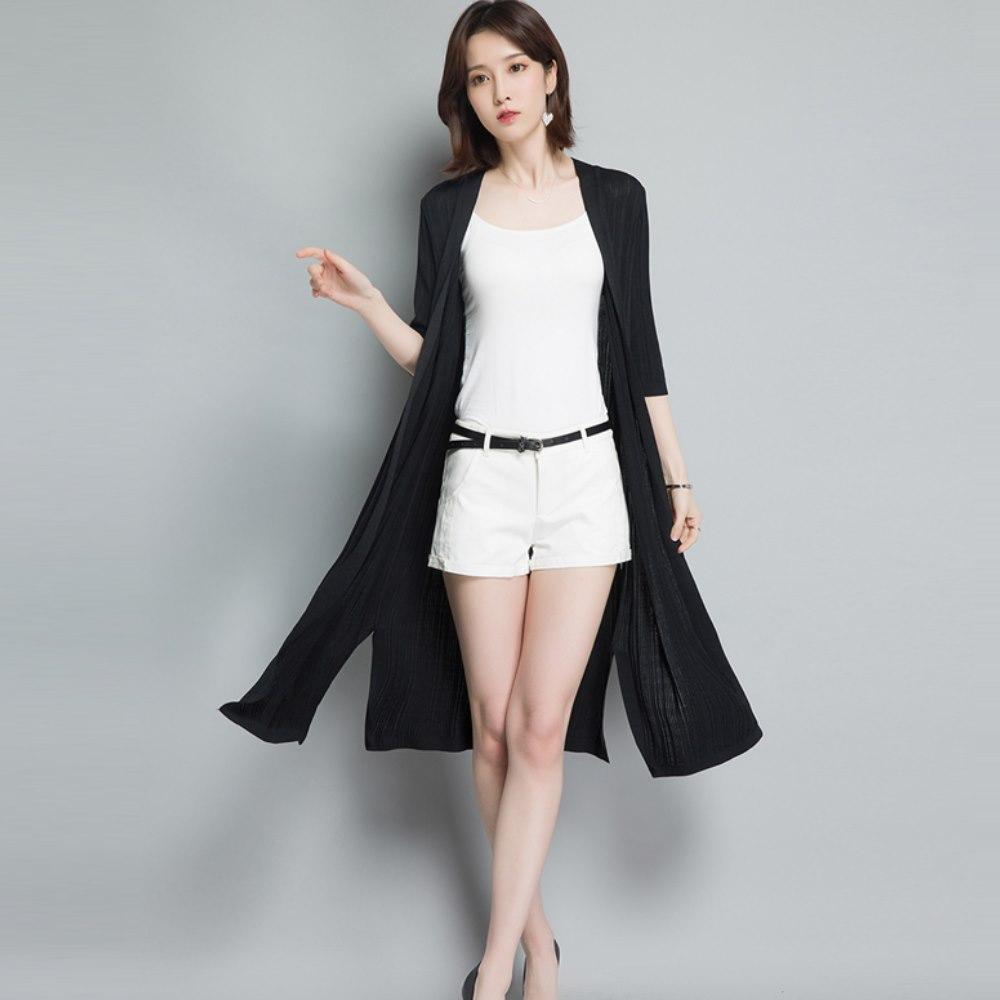 La Belleza細坑條素面薄款側開叉長版雪紡罩衫外套
