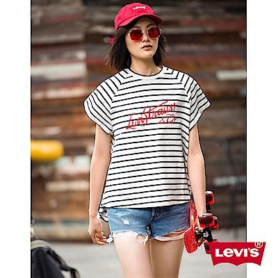 T恤 女裝 草寫LOGO 黑白條紋 - Levis