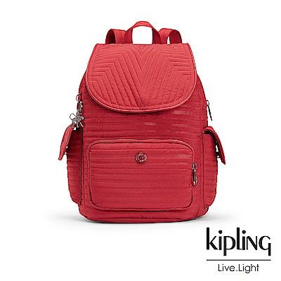 Kipling經典款知性梅紅掀蓋後背包-CITY PACK S