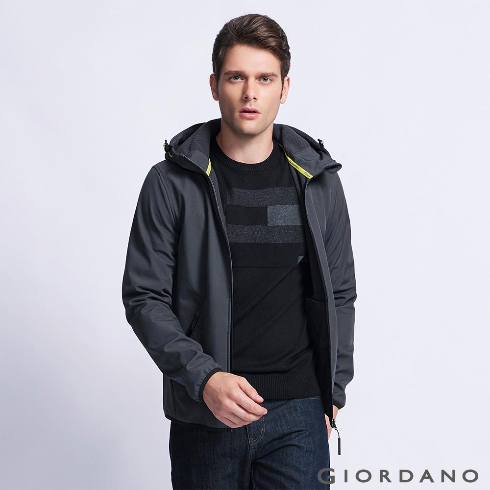 GIORDANO G-MOTION系列 防風保暖搖絨布連帽修身夾克 - 08 標誌灰