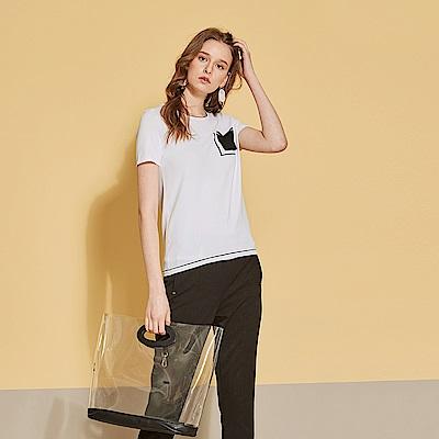 ICHE 衣哲 簡約層次撞色口袋拼接針織造型上衣-沁白