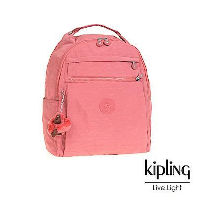 Kipling微甜薔薇粉多袋實用後背包-MICAH