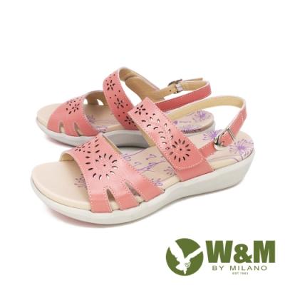 W&M(女) 雕花黏扣帶 厚底彈力涼鞋 女鞋 -粉 (另有白. 紫)