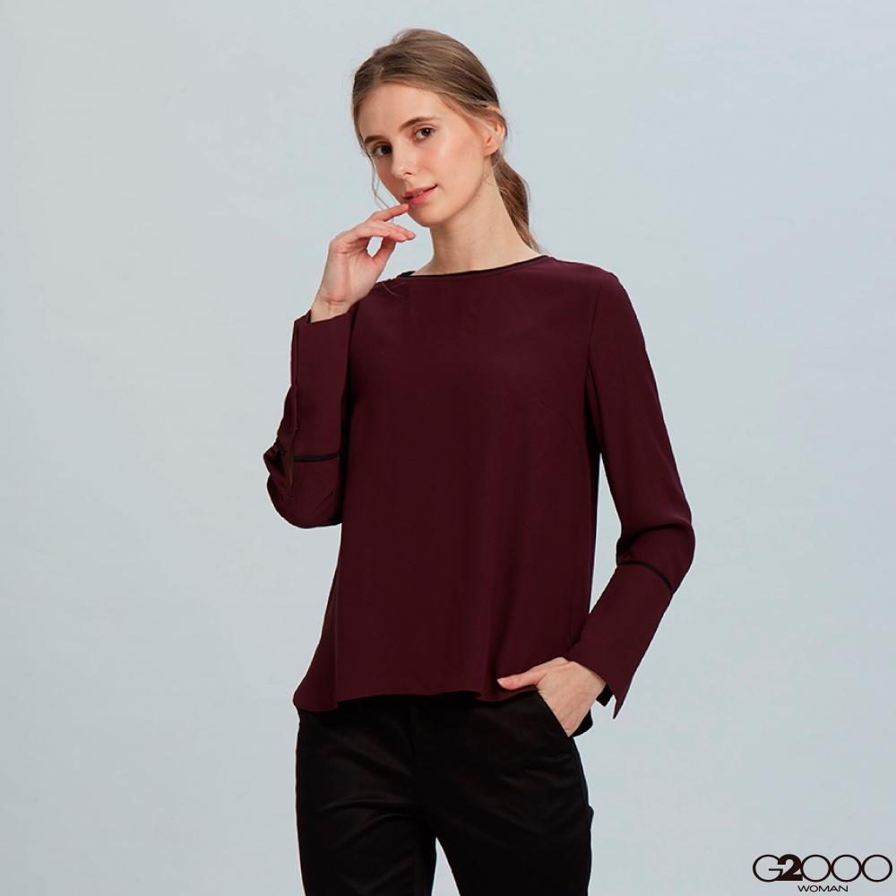 G2000素面長袖休閒上衣-酒紅色