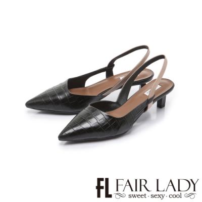 FAIR LADY 優雅小姐尖頭壓紋後斜口拉帶低跟鞋 黑