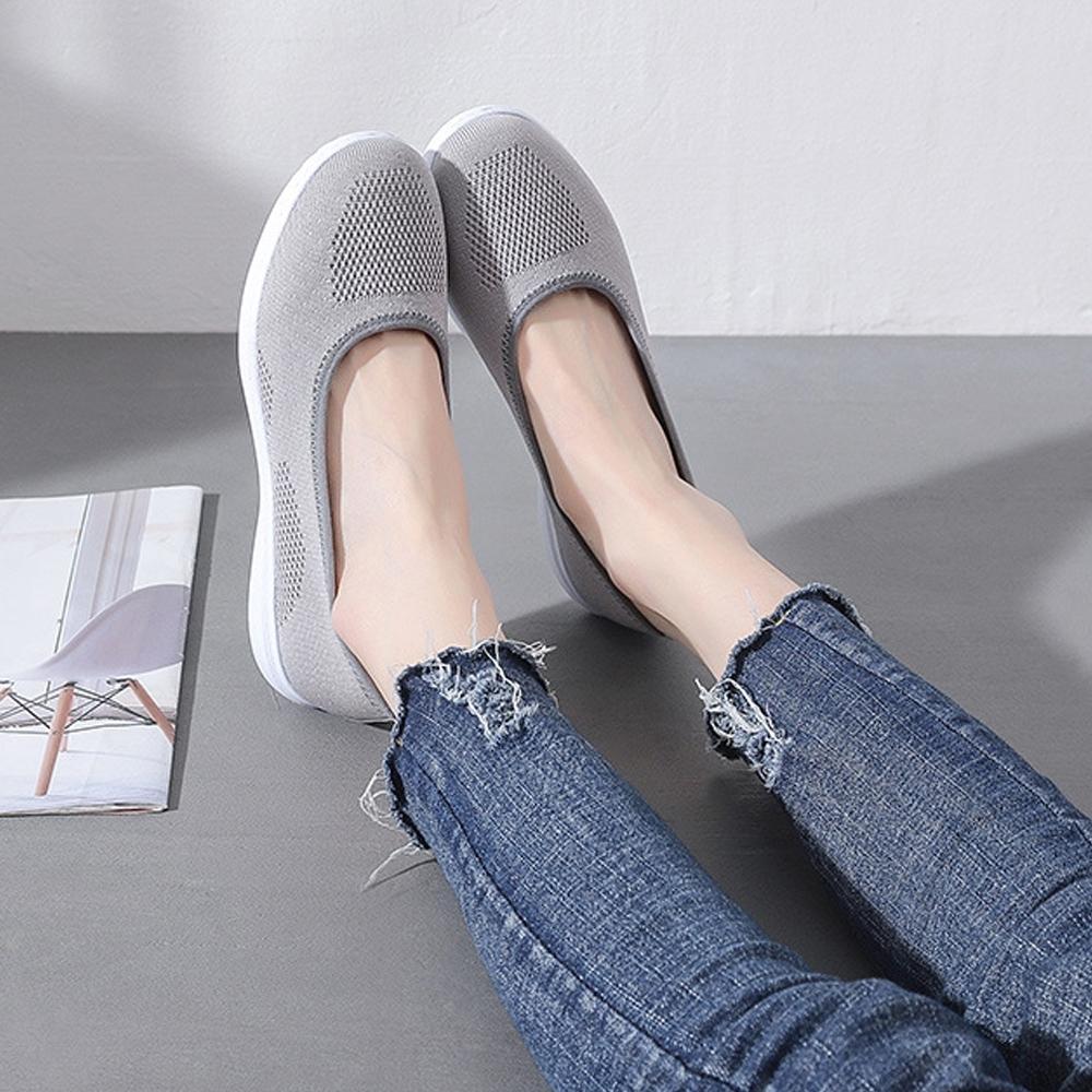 LN  現+預 韓版透氣簍空飛織懶人鞋(懶人鞋/休閒鞋) (灰)