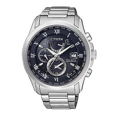 CITIZEN 紳士典雅光動能電波計時腕錶/白/AT9080-57L