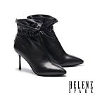 短靴 HELENE SPARK 簡約時尚抓皺全真皮尖頭高跟短靴-黑