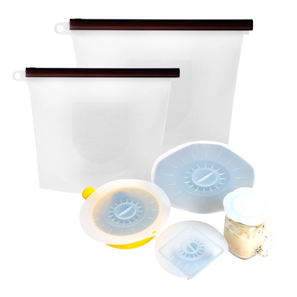 EG Home 宜居家 密封矽膠保鮮6件組(保鮮袋2尺寸+保鮮蓋4尺寸各1)