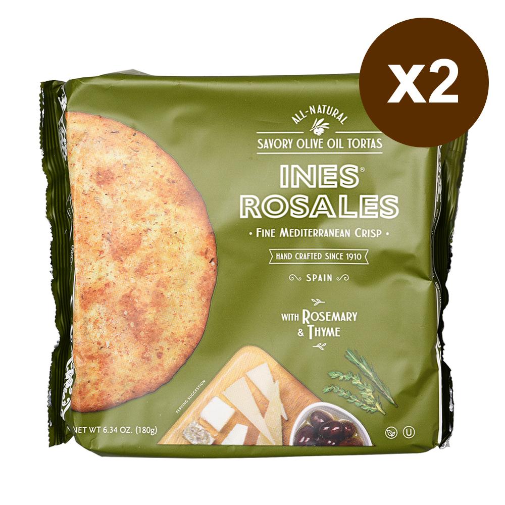 西班牙Ines Rosales 橄欖油手工脆餅-迷迭香&百里香 2入