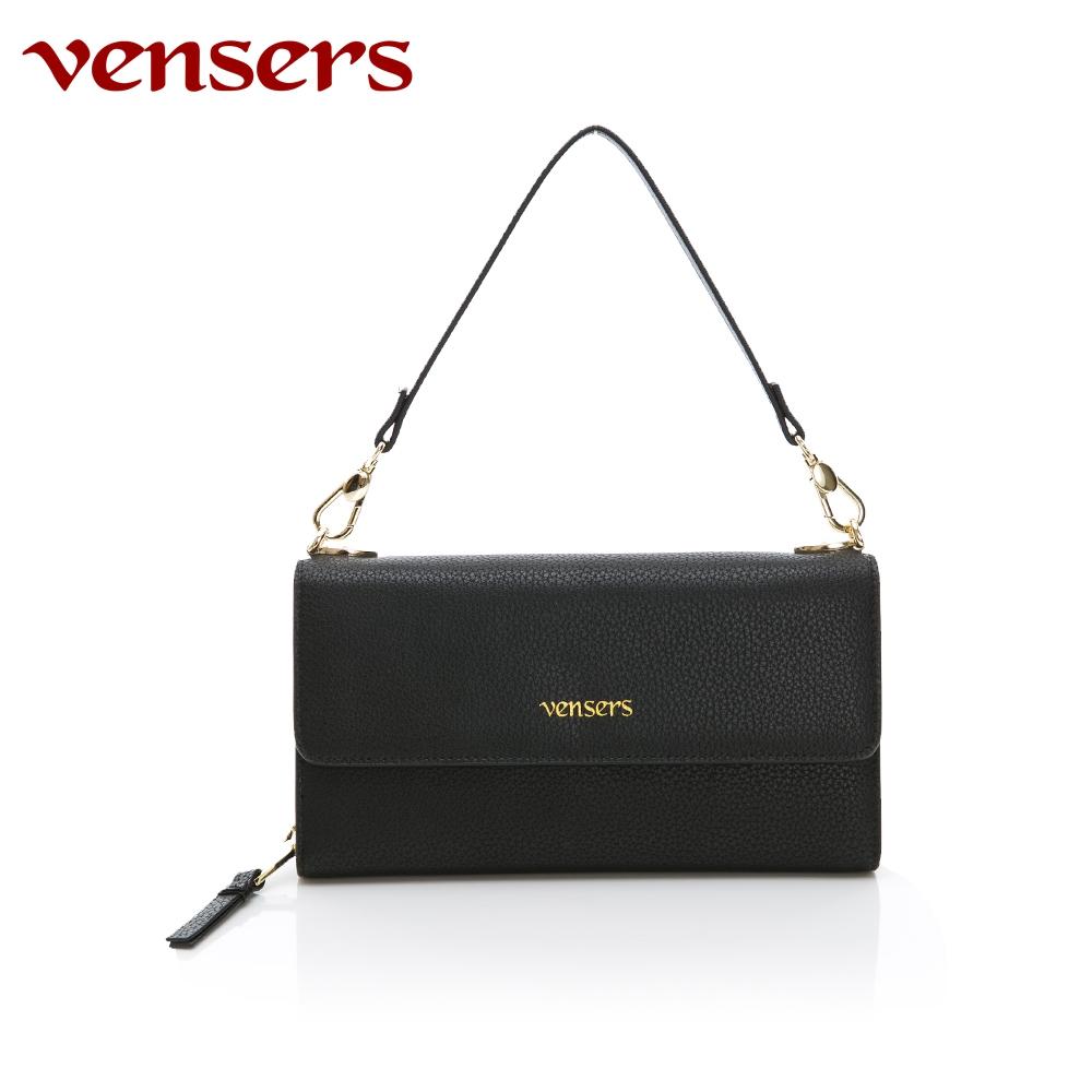 vensers 小牛皮潮流手拿包~(TA1700301黑色)