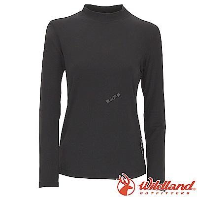 Wildland 荒野 W2651-54黑色 女遠紅外線保暖中領衛生衣