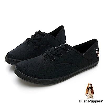 Hush Puppies 熱銷基本款★咖啡紗帆布鞋-黑色