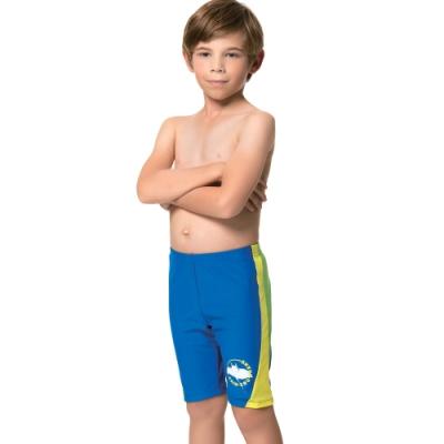 聖手牌 兒童泳裝 藍色素面七分男童泳褲