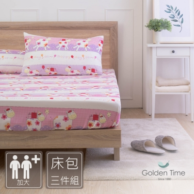 GOLDEN-TIME-牛牛-200織紗精梳棉三件式床包組(加大)