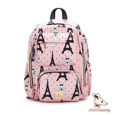 B.S.D.S冰山袋鼠 - 歐式香頌 - 時尚彩繪大容量輕旅後背包 - 輕奢粉