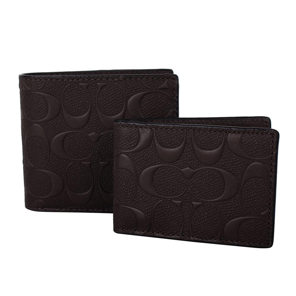 COACH  壓紋LOGO防刮皮革 (附活動卡夾)雙折短夾(深咖)