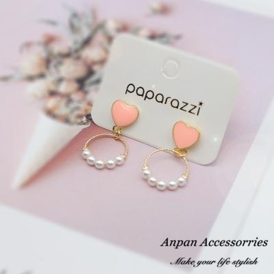 【ANPAN愛扮】韓東大門泫雅少女愛心珍珠圈925銀針耳釘式耳環(紅/粉可選)