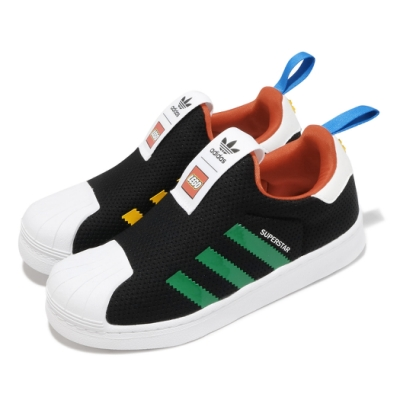 adidas 休閒鞋 Superstar 360 襪套 運動 童鞋 愛迪達 樂高聯名 貝殼頭 小童 穿搭 黑 彩 FX4922