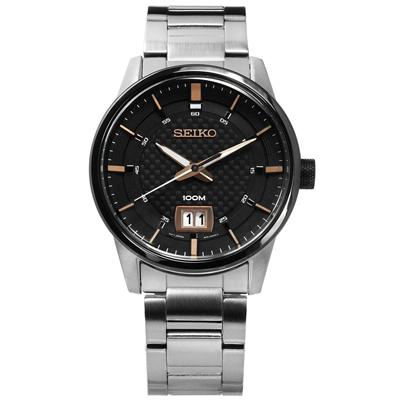 SEIKO 精工 碳纖維格紋礦石強化玻璃日期防水不鏽鋼手錶-黑色/41mm