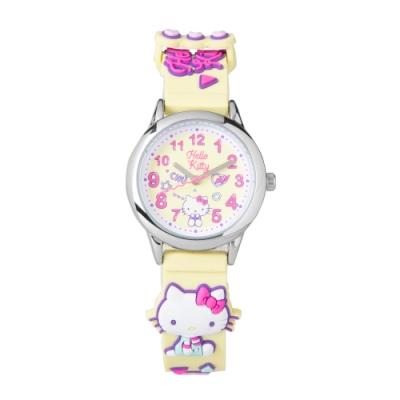 HELLO KITTY凱蒂貓 繽紛霓虹兒童手錶-黃/30mm
