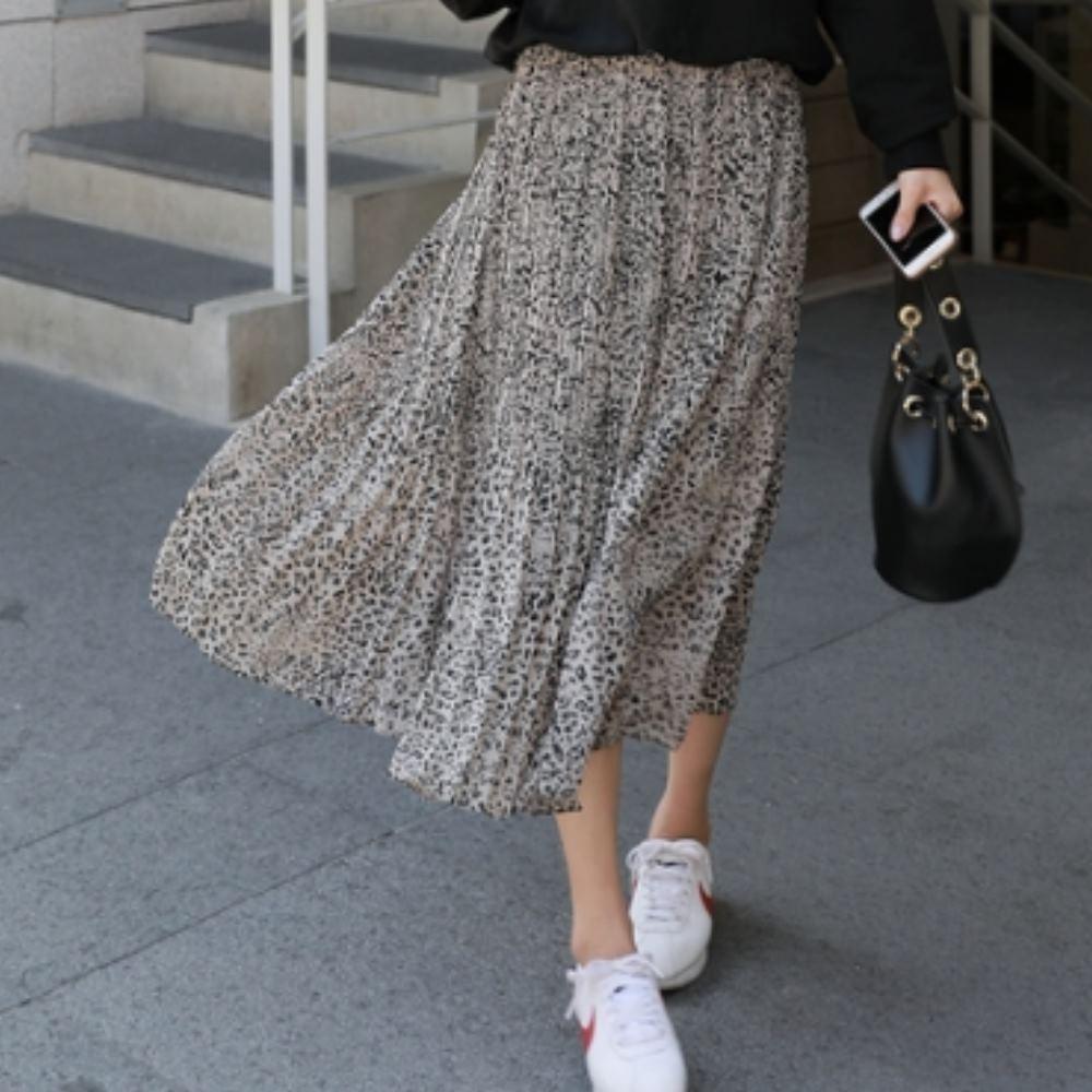 La Belleza鬆緊腰小豹點豹紋百摺細摺長裙(有內裡)