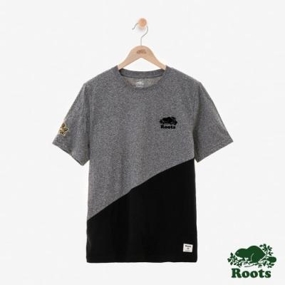 男裝ROOTS 周年系列幾何短袖T恤-灰