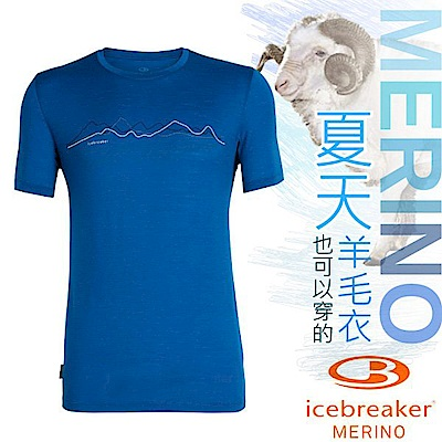 Icebreaker 男款 美麗諾羊毛 TECH-LITE 圓領短袖休閒上衣_深藍