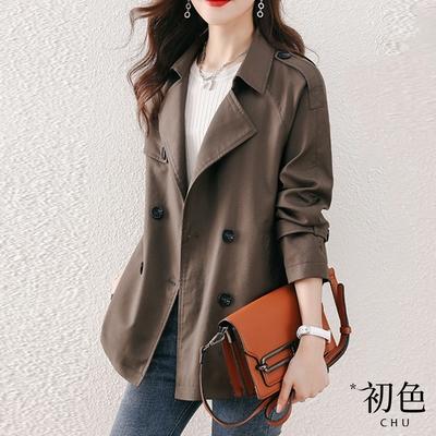 初色  韓版雙排扣短版風衣外套-橄欖色-(M-XL可選)