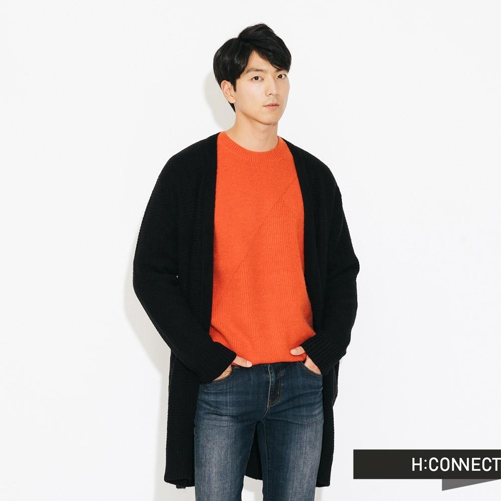 H:CONNECT 韓國品牌 男裝-開襟雙口袋針織外套 - 黑(快)