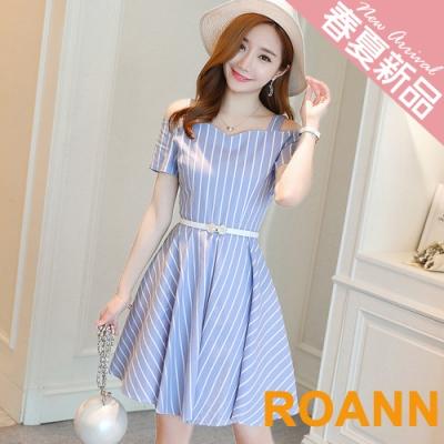 V領豎條紋露肩連身裙 (共二色)-ROANN