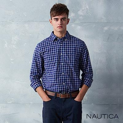 Nautica經典紅藍小格紋長袖襯衫