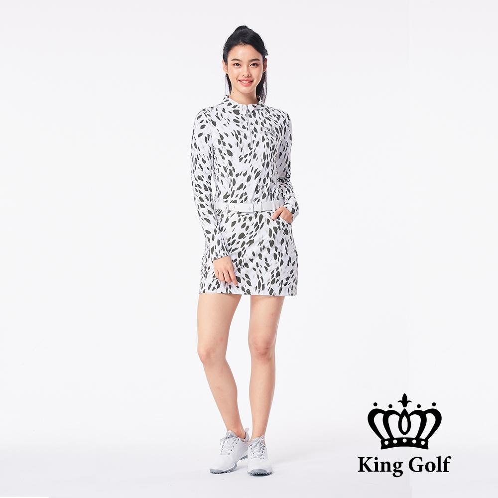 【KING GOLF】滿版印花貼鑽小立領拉鍊長袖POLO衫-豹紋
